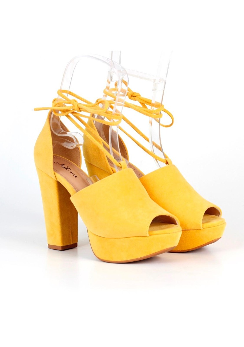 621cf483ff sandalia feminina meia pata not-me salto grosso amarelo. Carregando zoom.