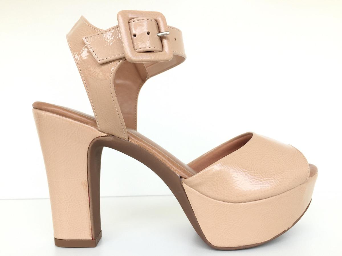 8f576174b7 sandália feminina meia pata nude salto alto grosso 2247605. Carregando zoom.