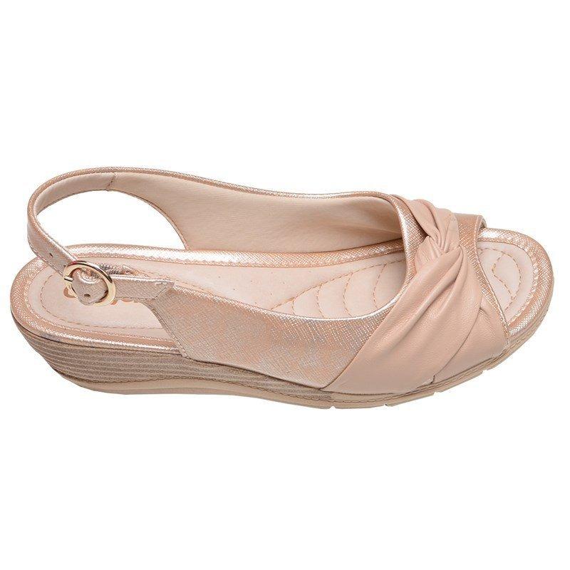 06ac45ce7 sandália feminina micro salto plus comfortflex bege e rose m. Carregando  zoom.