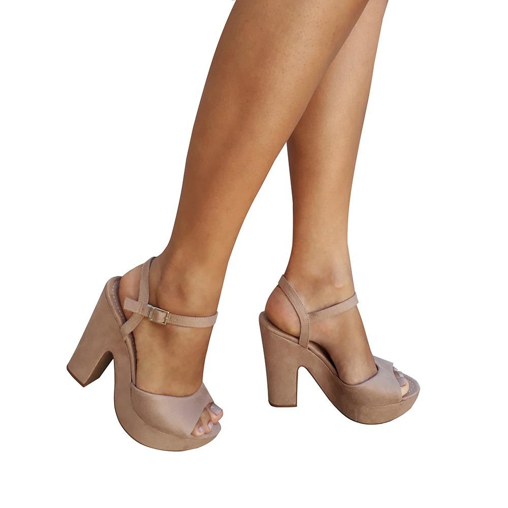db735510e sandalia feminina nude salto alto grosso plataforma vizzano. Carregando  zoom.