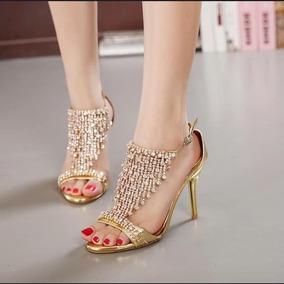 acedc4a4e2 Sandalia Festa Importada Dourada Com Pedrarias E Strass - Sapatos no ...