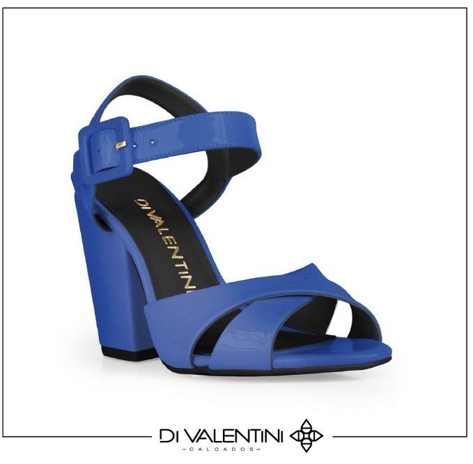 af9d5d7d7 Sandália Feminina, Peep Toe, Azul, Salto Grosso - Divalentin - R ...
