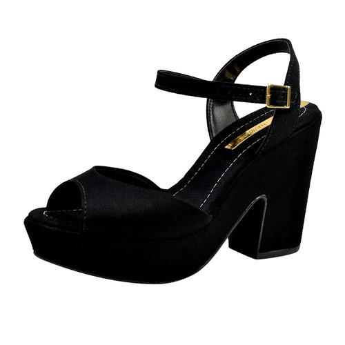 sandalia feminina preta salto alto grosso plataforma moleca