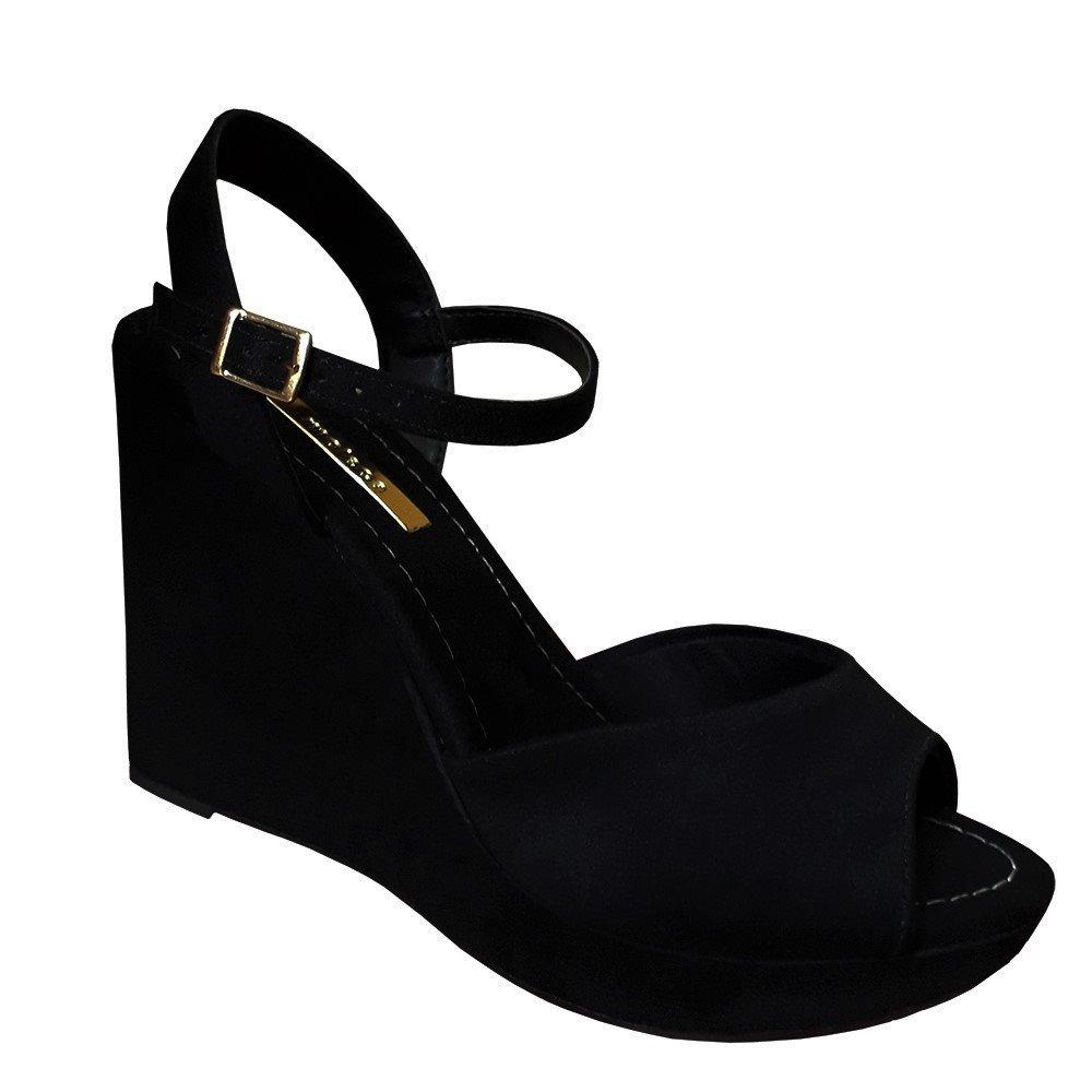 574518eb9b sandalia feminina preta salto alto meia pata anabela moleca. Carregando zoom .