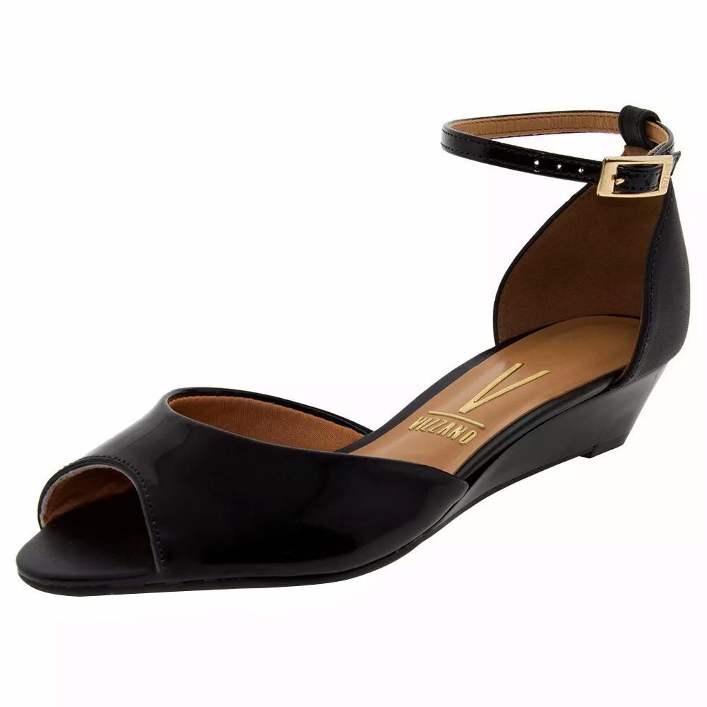 bd817c2faa sandalia feminina preta salto saltinho baixo anabela vizzano. Carregando  zoom.