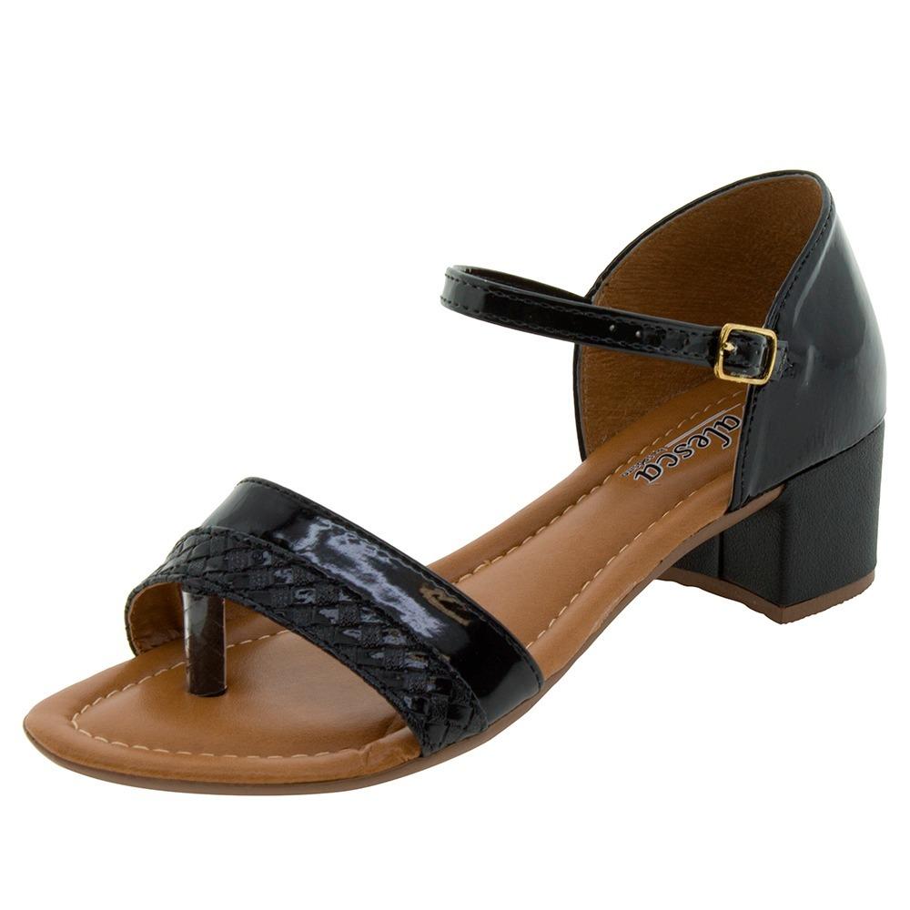 40b75f6943 sandalia feminina preta verniz salto quadrado medio baixo. Carregando zoom.
