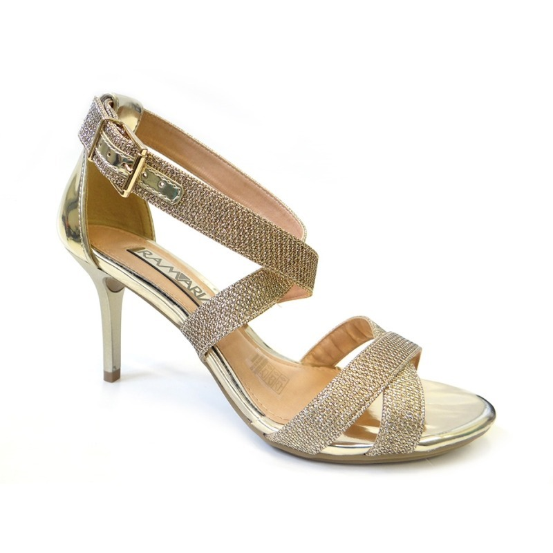dabd0ef96 sandália feminina ramarim 1661205 dourada glitter salto alto. Carregando  zoom.