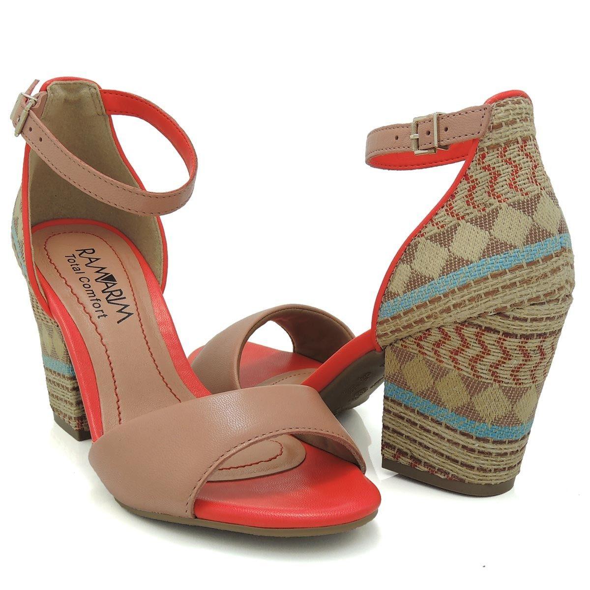 0321e936f Sandália Feminina Ramarim Total Comfort 1541205 Salto Grosso - R$ 99 ...