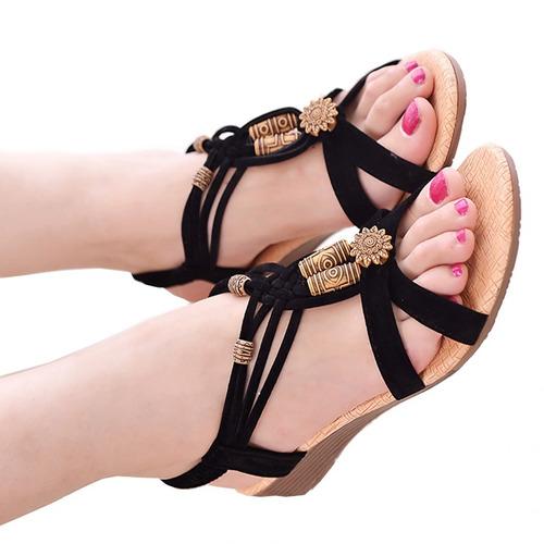sandália feminina rasteira gladiadora preta