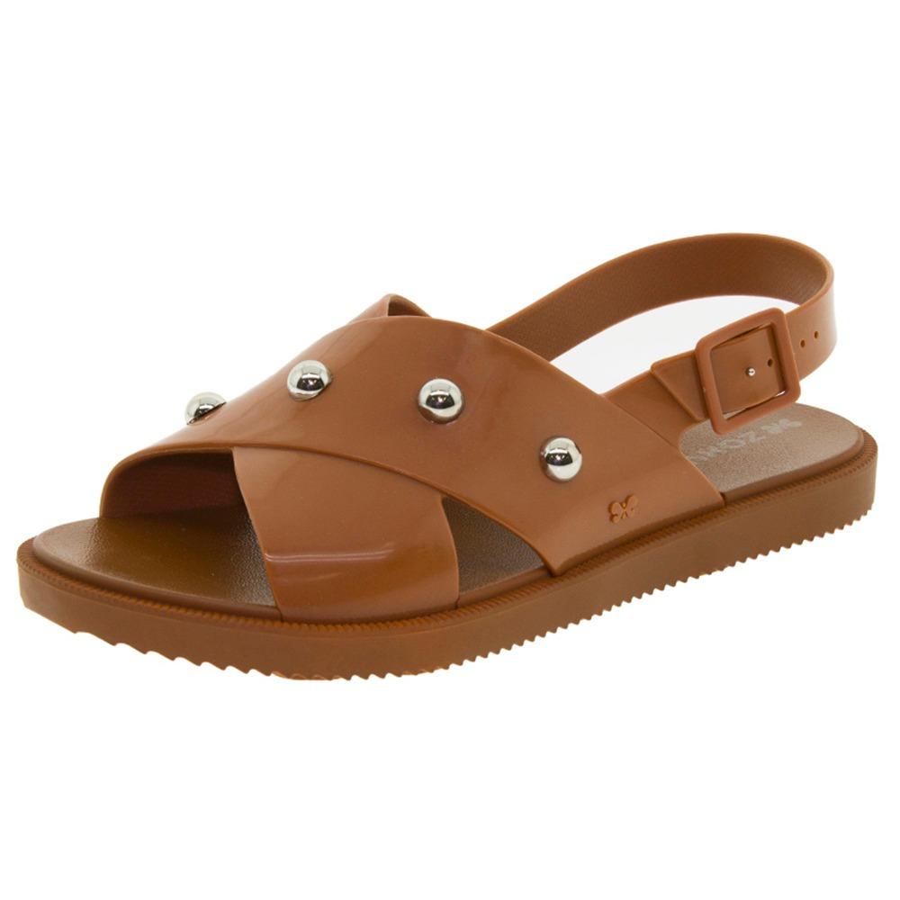 b2120b07f1 sandália feminina rasteira match caramelo zaxy - 17360. Carregando zoom.