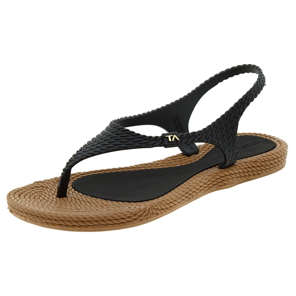 1944ca70b sandália feminina rasteira preta terra & água - 260600. Carregando zoom.