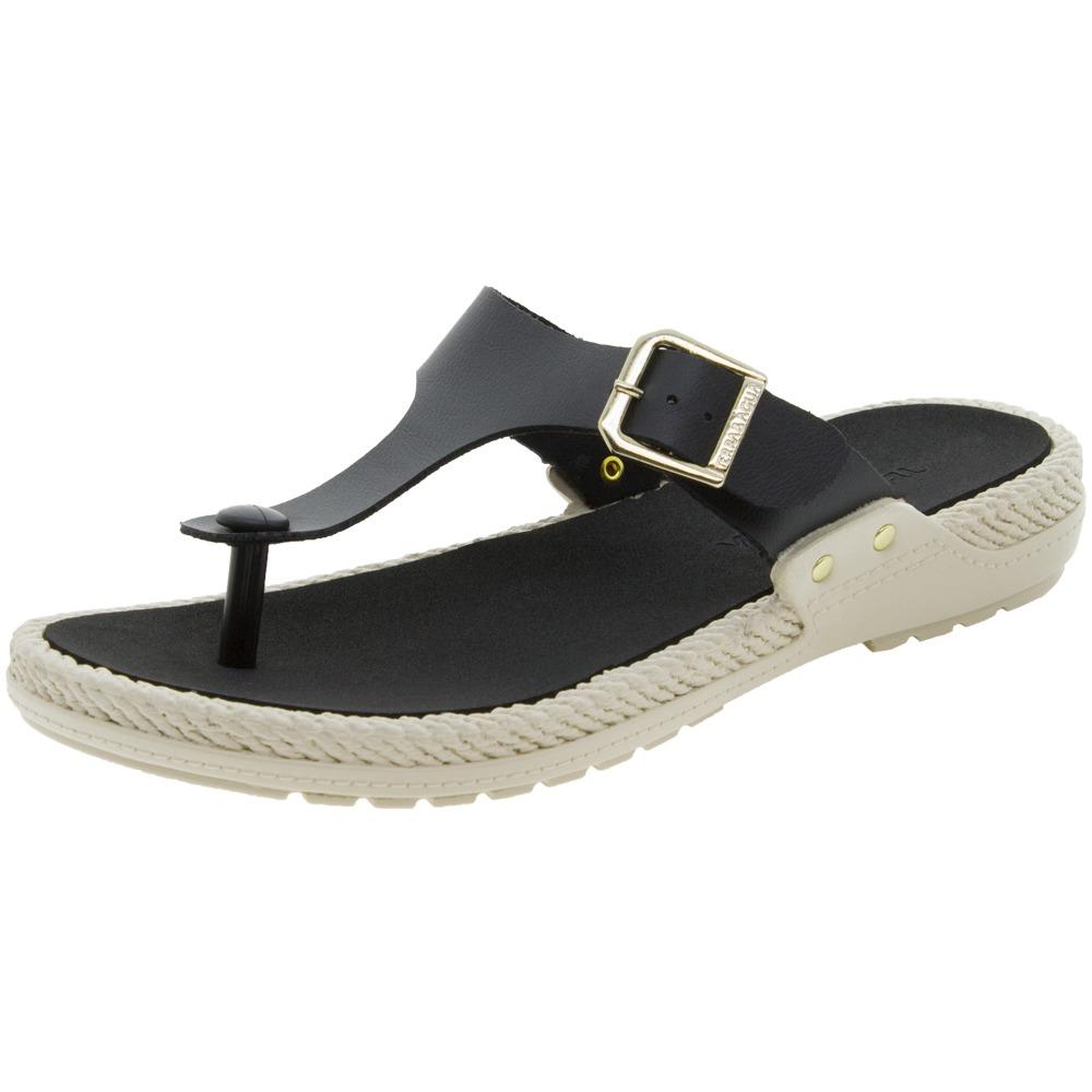 9b3145815 sandália feminina rasteira preta terra & água - 340002. Carregando zoom.