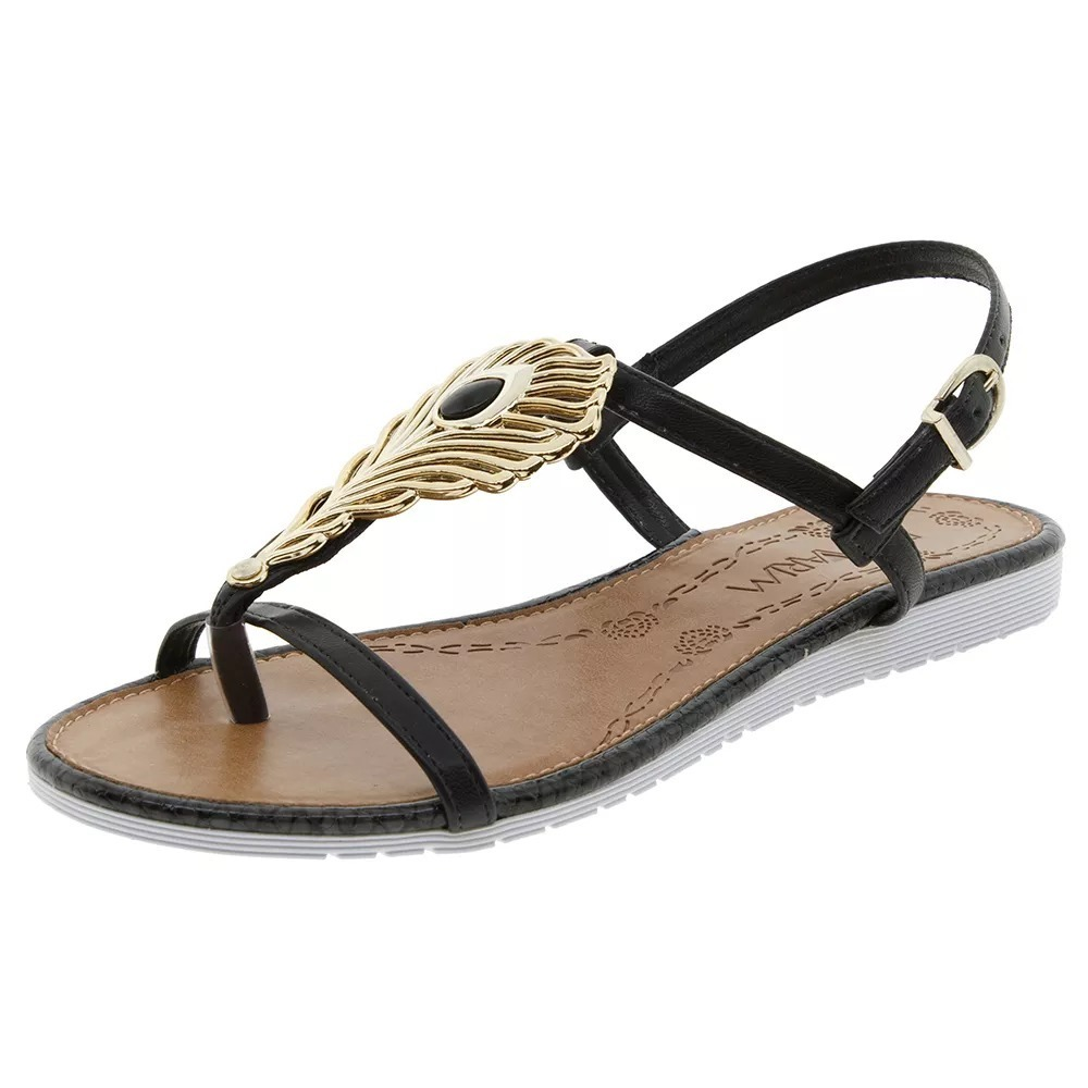 b5708d11b5 sandália feminina rasteira ramarim preta 1721102. Carregando zoom.