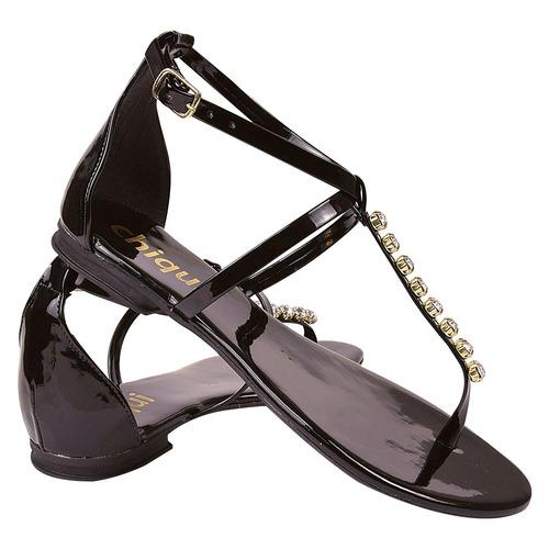 sandalia feminina rasteira rasteirinha verniz strass adl