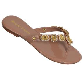 4f1a6d71c1 Rasteiras De Luxo Com Bordados Em Pedrarias - Sapatos no Mercado ...