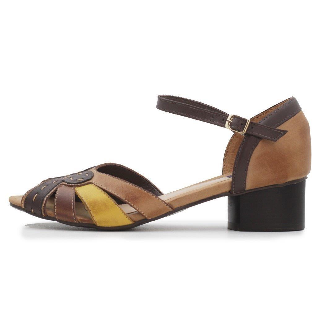 168b610033 sandália feminina retrô conforto de salto baixo em couro. Carregando zoom.