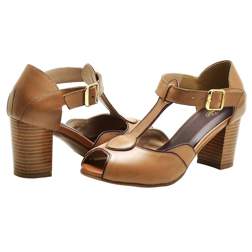 2b5d0e5b2 sandália feminina retro salto baixo couro tabaco whisky. Carregando zoom.