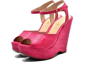 07dc50bdc Salto Alto Rosa Pink Feminino Anabela - Sapatos no Mercado Livre Brasil