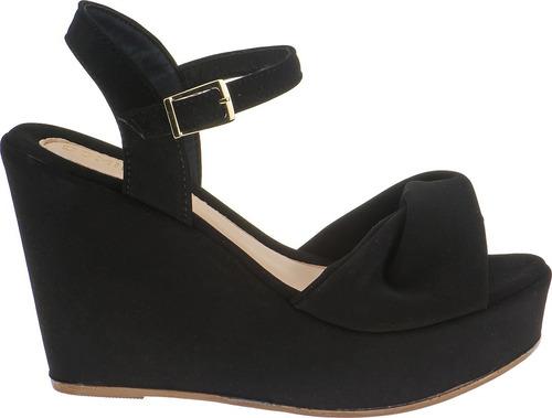 sandalia feminina salto alto anabela plataforma nobuck preto