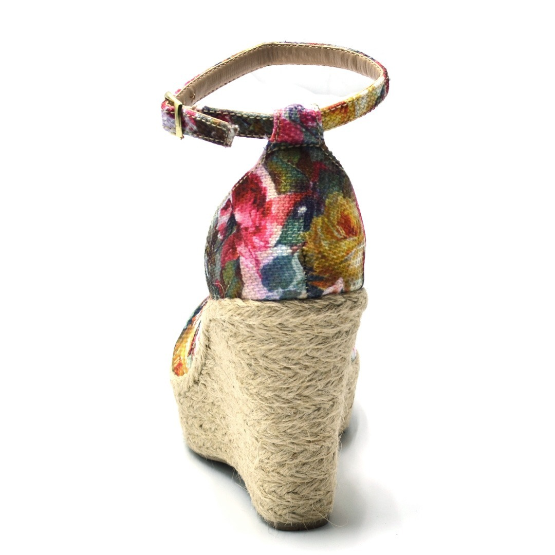 51456a351 sandália feminina salto alto anabela sisal e tecido floral. Carregando zoom.