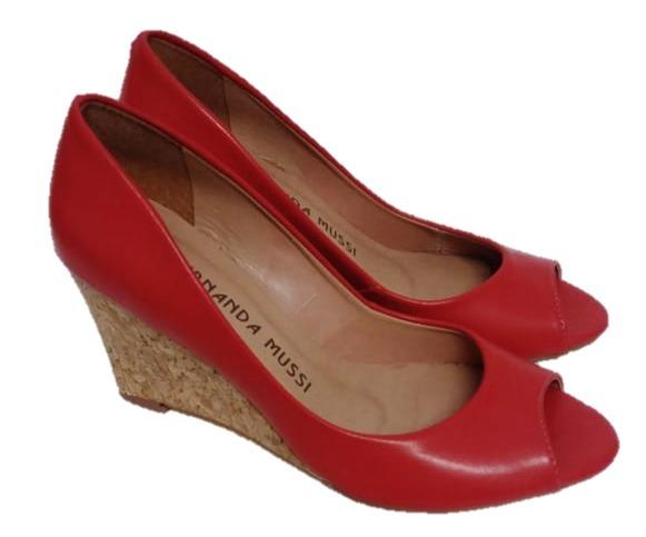 951feeff0 Sandália Feminina Salto Alto Anabela - Vermelha- Tamanho 35 - R$ 98 ...