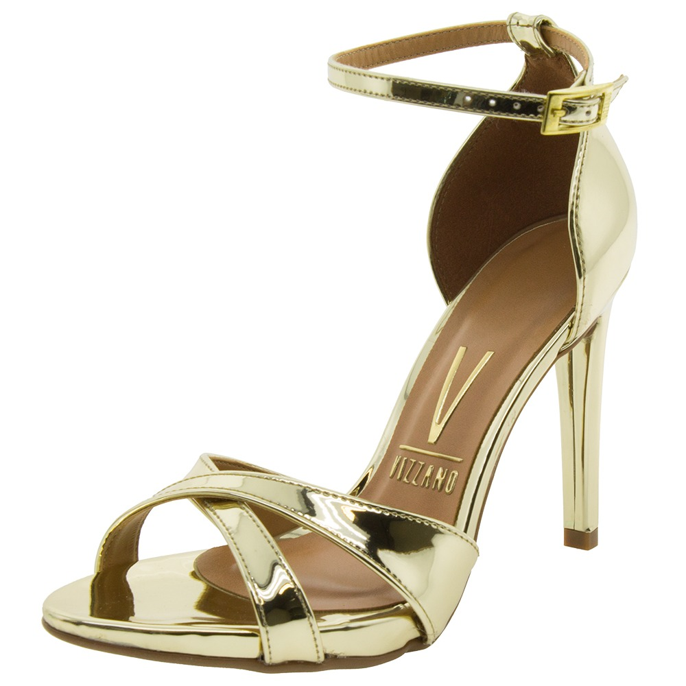 bcfd9aa82 sandália feminina salto alto dourada vizzano - 6302107. Carregando zoom.