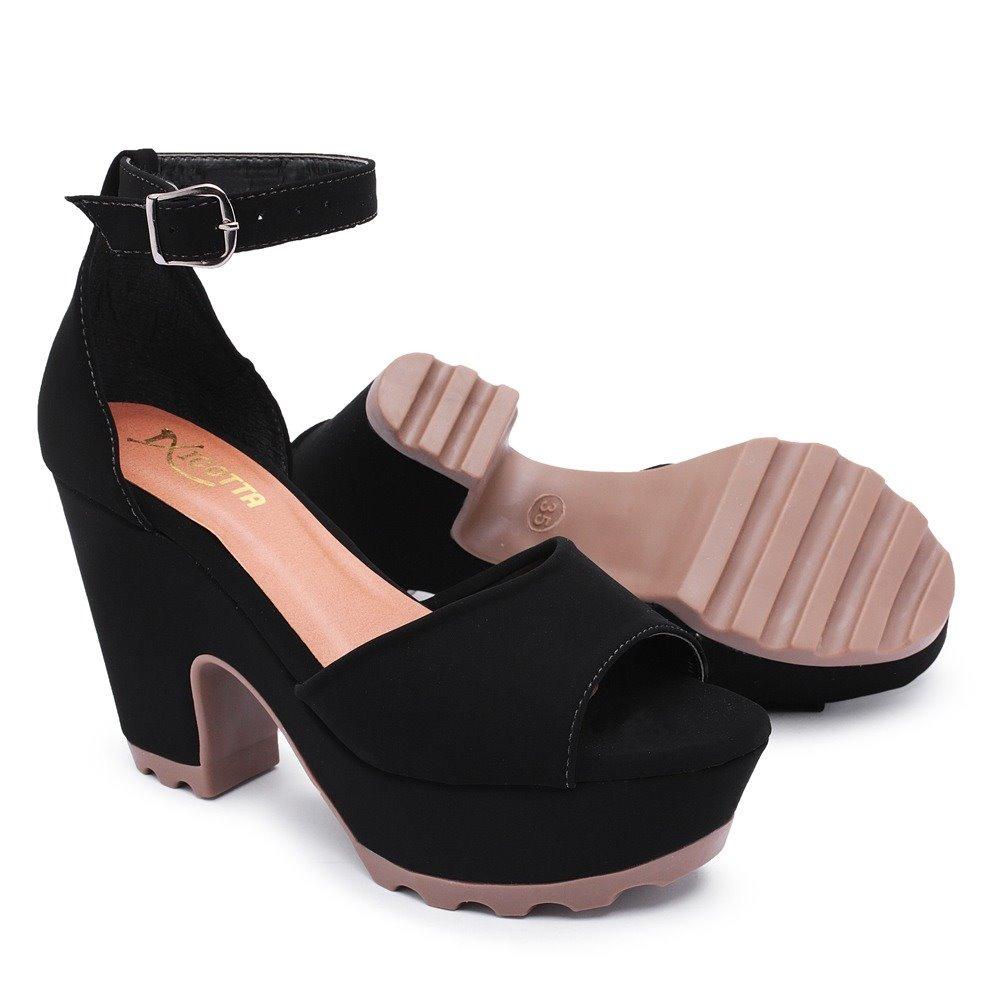 cdd6cf4f3 sandália feminina salto alto grosso confortável preta social. Carregando  zoom.