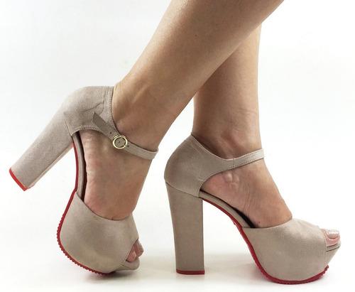 sandália feminina salto alto grosso rf 962 antonia dominguez