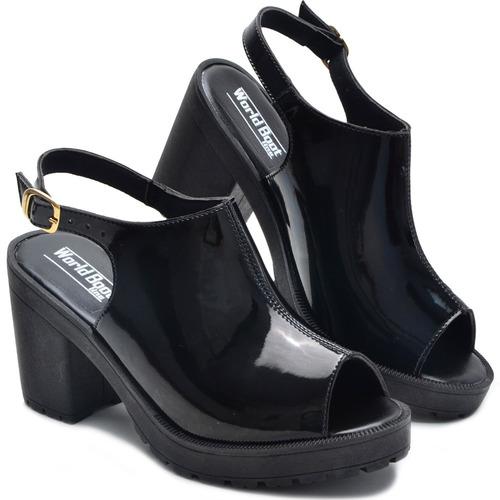 sandália feminina salto alto grosso tratorada confortável