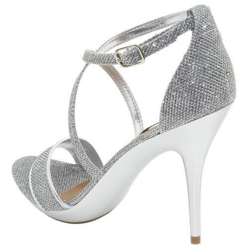 sandália feminina salto alto prata crysalis - 40554143