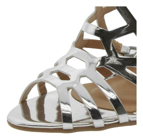 sandália feminina salto alto prata vizzano - 6309300