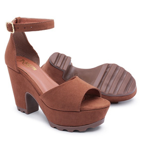 0f72901274 Sandalias Salto Quadrado Marrom - Sapatos no Mercado Livre Brasil