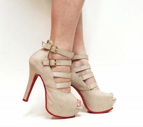 b6334c1c5 Peep Toe Nude Prego Sandalias Salto Agulha - Sapatos com o Melhores ...