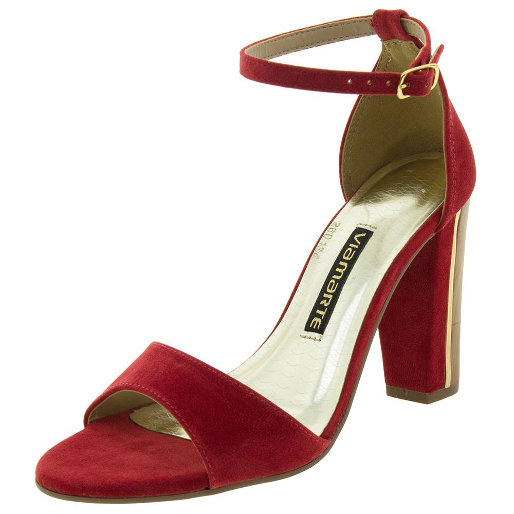 c6a6985352 sandália feminina salto alto vermelha via marte - 1619106. Carregando zoom.