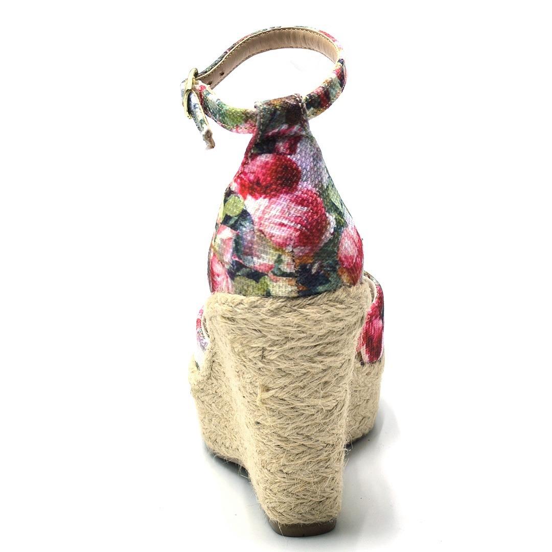 715d9e1fb sandália feminina salto anabela em sisal e tecido floral. Carregando zoom.