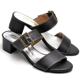 c6c016f86d Sandalia Salto Médio Sapato Feminino Rasteira Números Grande