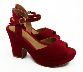 d87df85e98 Sapato Salto Alto Plataforma Vermelho Feminino - Calçados