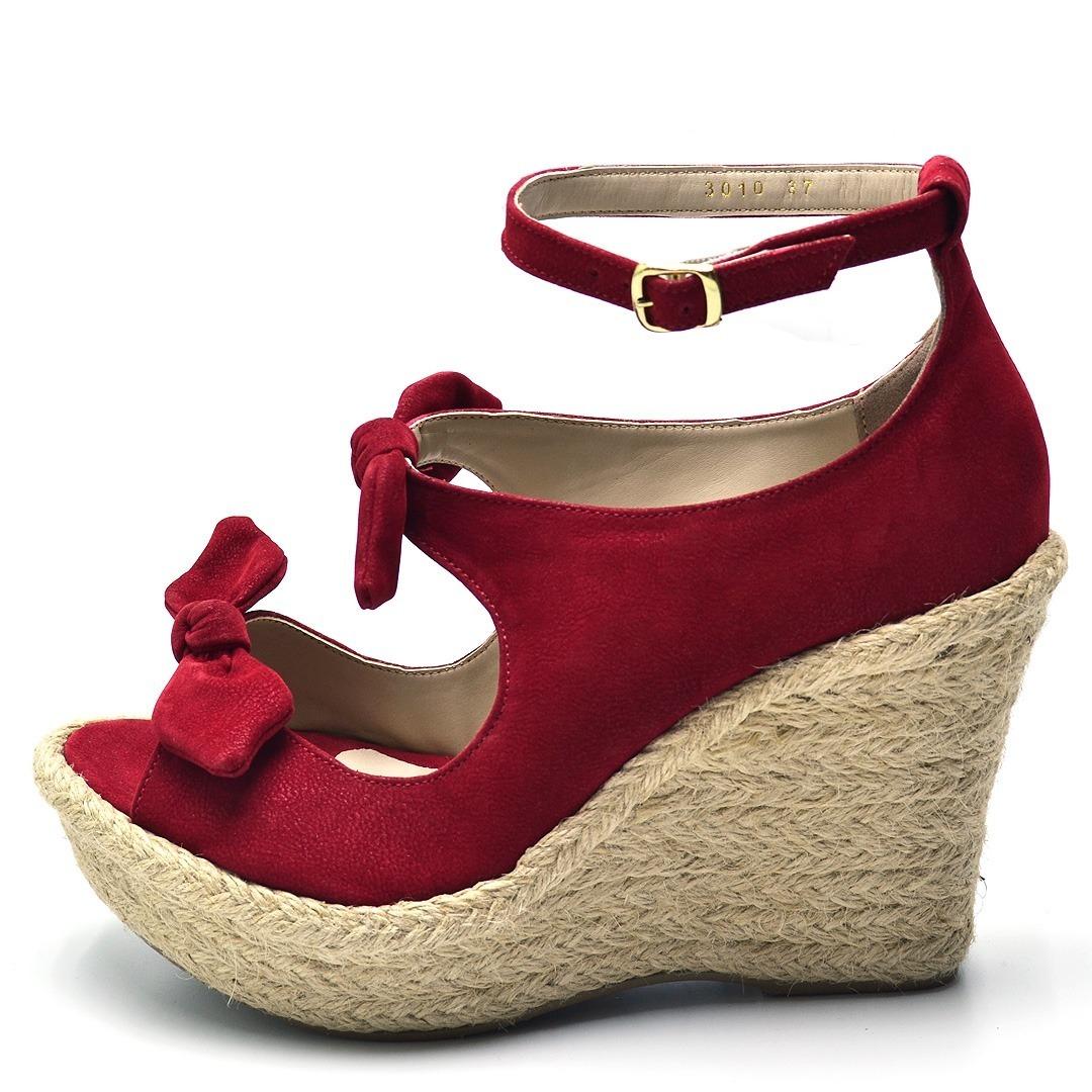 8c6f808ab sandália feminina salto anabela vermelha e solado de sisal. Carregando zoom.