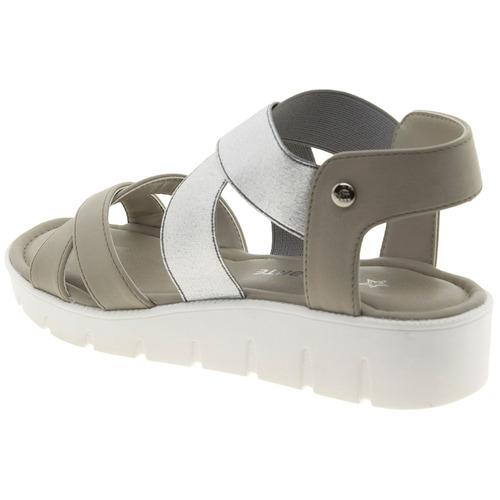 sandália feminina salto baixo gelo/prata via marte - 1711804