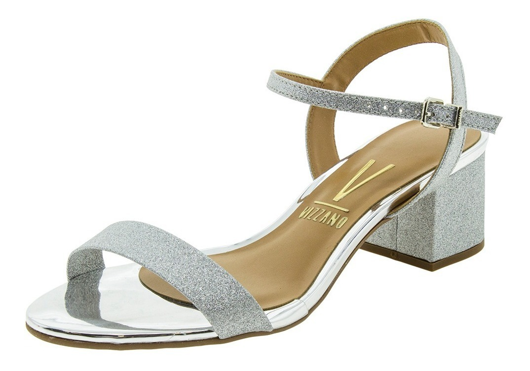 93c160b5a sandália feminina salto baixo prata vizzano - 6291125. Carregando zoom.