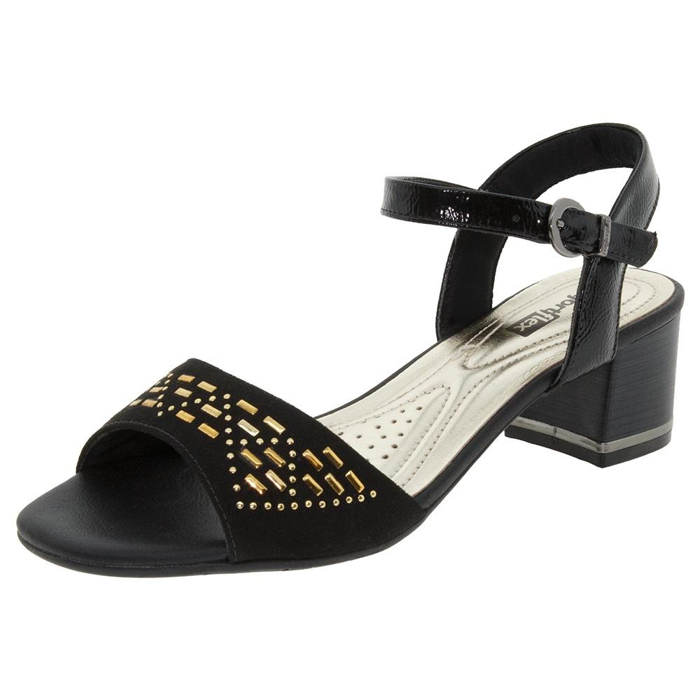 5e6deb13c sandália feminina salto baixo preta comfortflex - 1652404. Carregando zoom.