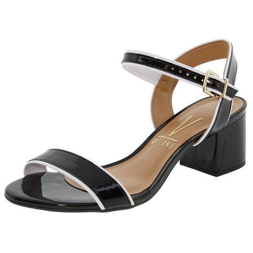 sandália feminina salto baixo preta vizzano - 6291123