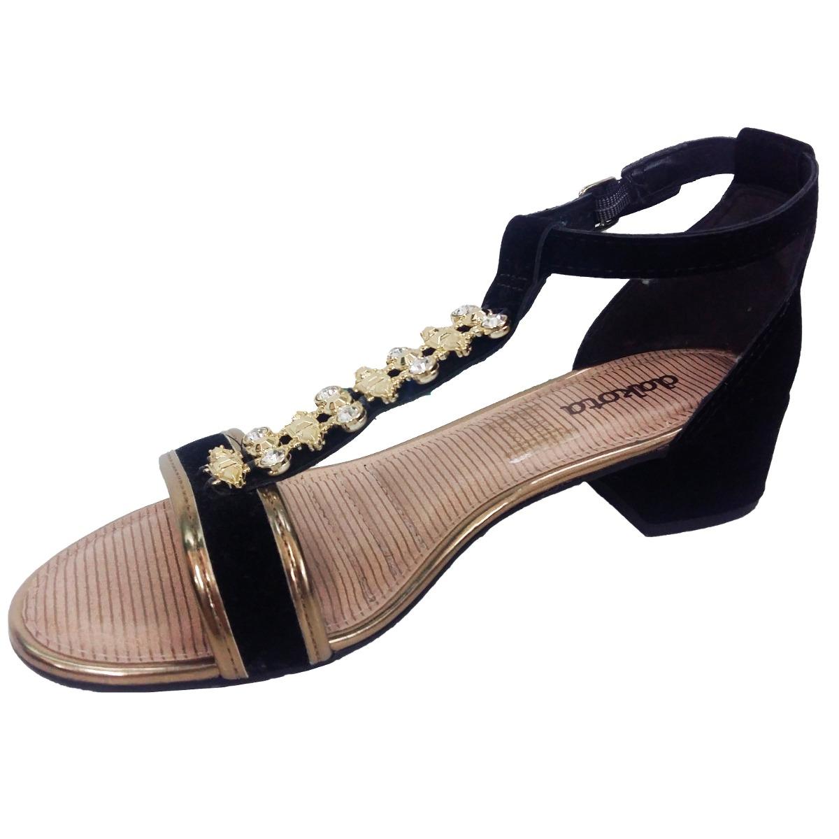 773861fe61 sandália feminina salto baixo preto ouro z1694 dakota. Carregando zoom.