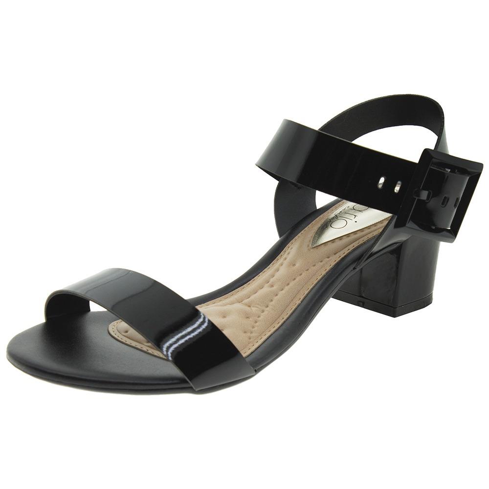 7d2ea99156 sandália feminina salto baixo verniz preto beira rio - 8246. Carregando zoom .