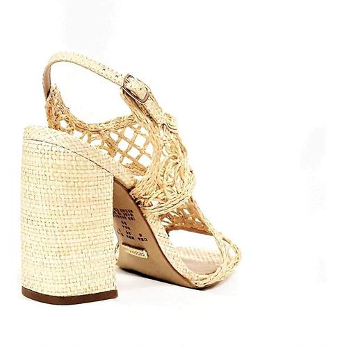 sandália feminina salto bloco bordado natural cecconello 138