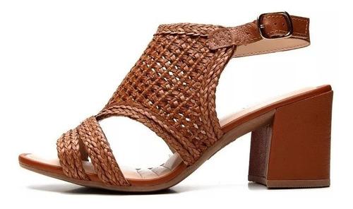 sandália feminina salto bloco dakota z5442 mascavo verão