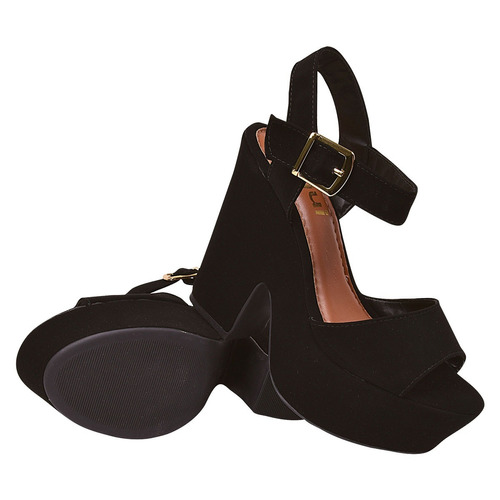 sandalia feminina salto grosso alto tratorada anabela bra