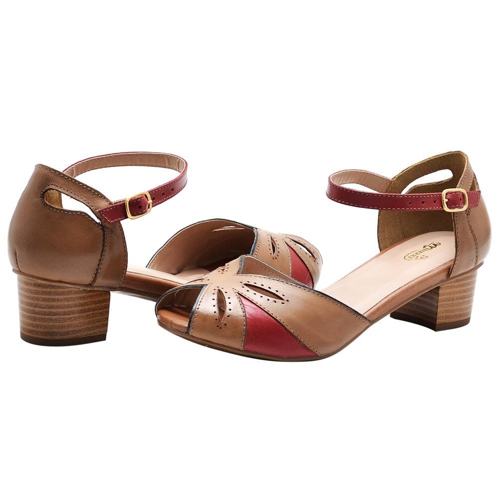 65213d1a54 sandalia feminina salto grosso baixo couro linda promoçao!! Carregando zoom.