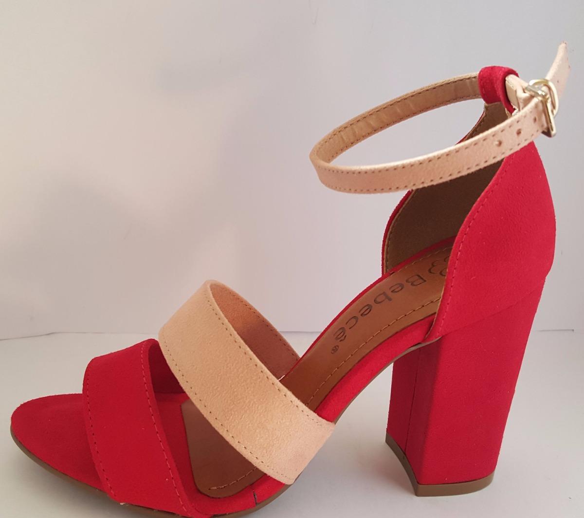 c8e989d3e3 sandalia feminina salto grosso bebece vermelha. Carregando zoom.
