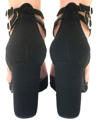 sandália feminina salto grosso médio gladiadora tiras 8008